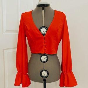 Zaful Size large Red Blouse Women's
